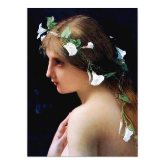 Nymph with Morning Glory Flowers in Her Hair 6.5x8.75 Paper Invitation Card