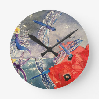 Nymphs and Dragonfly Watercolor Painting Round Wall Clocks