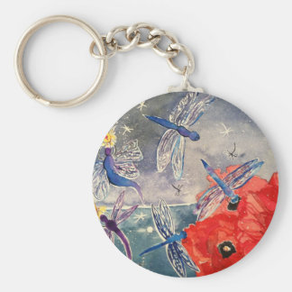 Nymphs and Dragonfly Watercolor Painting Keychain