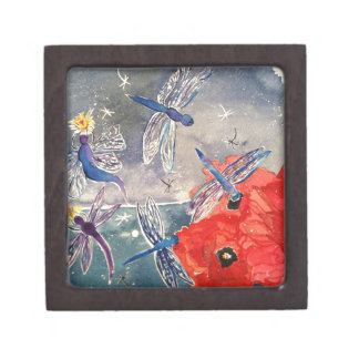 Nymphs and Dragonfly Watercolor Painting Premium Trinket Box