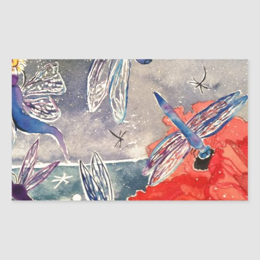 Nymphs and Dragonfly Watercolor Painting Rectangular Stickers