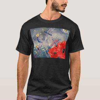 Nymphs and Dragonfly Watercolor Painting T-Shirt