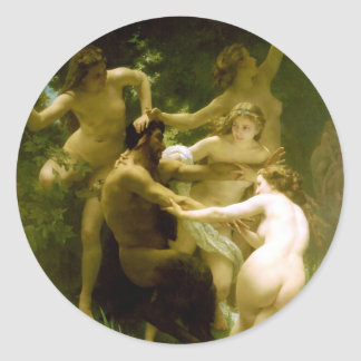 Nymphs and Satyr by William Adolphe Bouguereau Classic Round Sticker