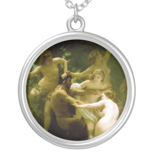 Nymphs and Satyr by William Adolphe Bouguereau Silver Plated Necklace