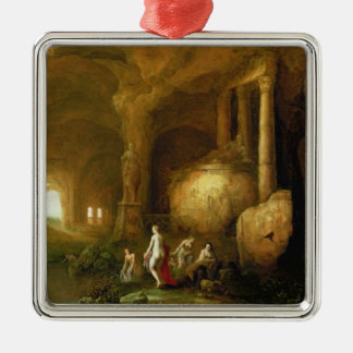 Nymphs Bathing by Classical Ruins Metal Ornament