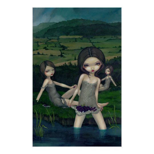 Nymphs Collecting Berries Art Print