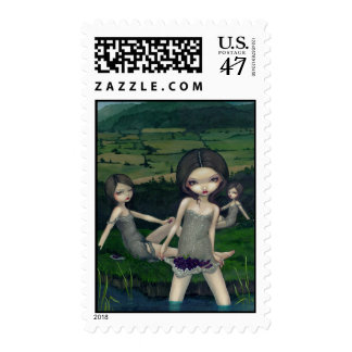 """""""Nymphs Collecting Berries"""" Stamp"""