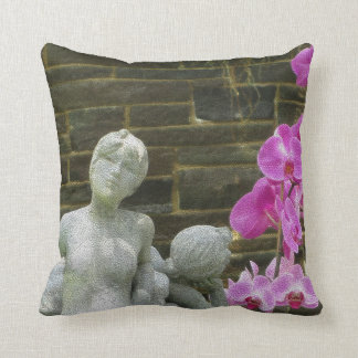 Nymphs & Orchids Throw Pillow