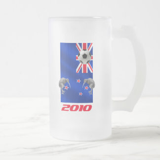 NZ 2010 All Whites Soccer gifts Frosted Glass Beer Mug