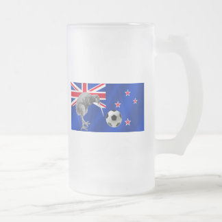 NZ all whites Kiwi soccer football fans gifts Frosted Glass Beer Mug
