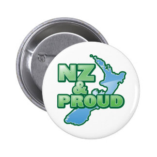 NZ and PROUD KIWI New Zealand Pinback Button