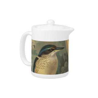 NZ Birds - NZ Kingfisher Semi-Abstract Teapot
