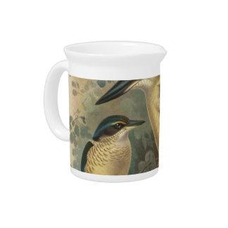 NZ Birds - NZ Kingfishers Semi-Abstract Drink Pitcher