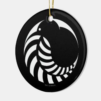 NZ Kiwi / Silver Fern Emblem Double-Sided Ceramic Round Christmas Ornament