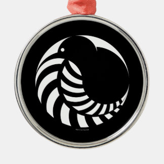 NZ Kiwi / Silver Fern Emblem Round Metal Christmas Ornament