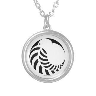 NZ Kiwi / Silver Fern Emblem Round Pendant Necklace