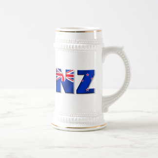 NZ logo flag of New Zealand Beer Stein