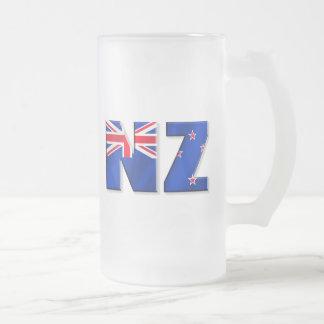 NZ logo flag of New Zealand Frosted Glass Beer Mug