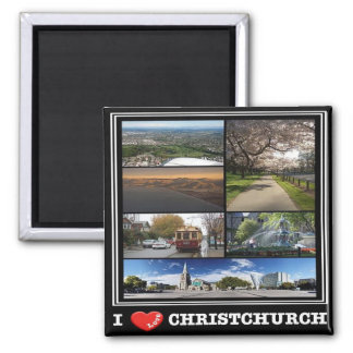 NZ - New Zealand - Christchurch - I Love 2 Inch Square Magnet