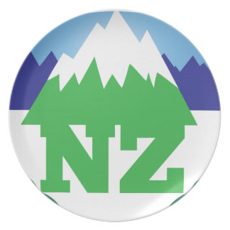 NZ (NEW ZEALAND) with a mountain range trendy Dinner Plate