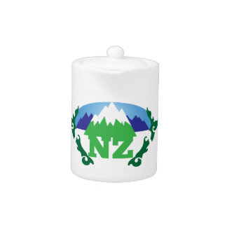 NZ (NEW ZEALAND) with a mountain range trendy Teapot