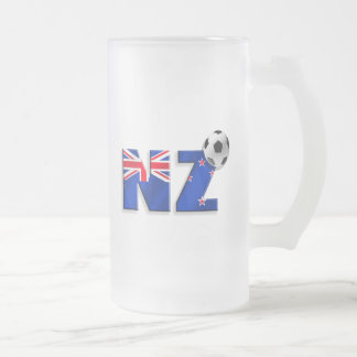 NZ soccer ball gifts flag of New Zealand style Frosted Glass Beer Mug
