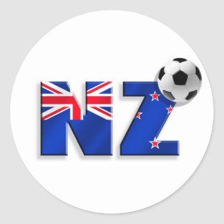 NZ soccer ball gifts flag of New Zealand style Round Stickers