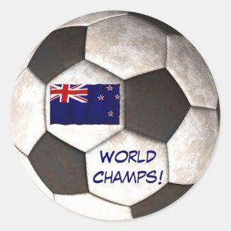 """NZ Soccer Ball """"World Champs"""" Football Classic Round Sticker"""