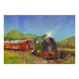 NZ Steam Train Modern Painting on a Poster