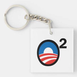 O ajustó el término de Obama en segundo lugar Llavero Cuadrado Acrílico A Doble Cara