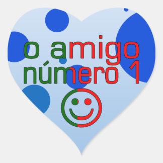 O Amigo Número 1 in Portuguese Flag Colors Heart Sticker