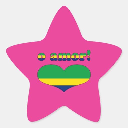 O Amor! - Love in Brazilian Valentine's Day Star Sticker