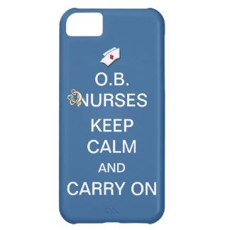 O.B. Nurses Keep Calm+Rattle /Summer Sky Blue Cover For iPhone 5C
