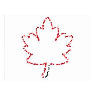 O Canada National Anthem in a Maple Leaf Postcard