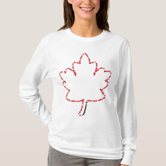 O Canada National Anthem in a Maple Leaf T-Shirt