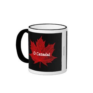 O Canada! Red Maple Leaf Ringer Coffee Mug