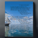 """O&#39; Captain, My Captain by: Walt Whitman Plaque<br><div class=""""desc"""">A beautiful sail ship,  with a wonderful poem. For any Walt Whitman Fan!</div>"""