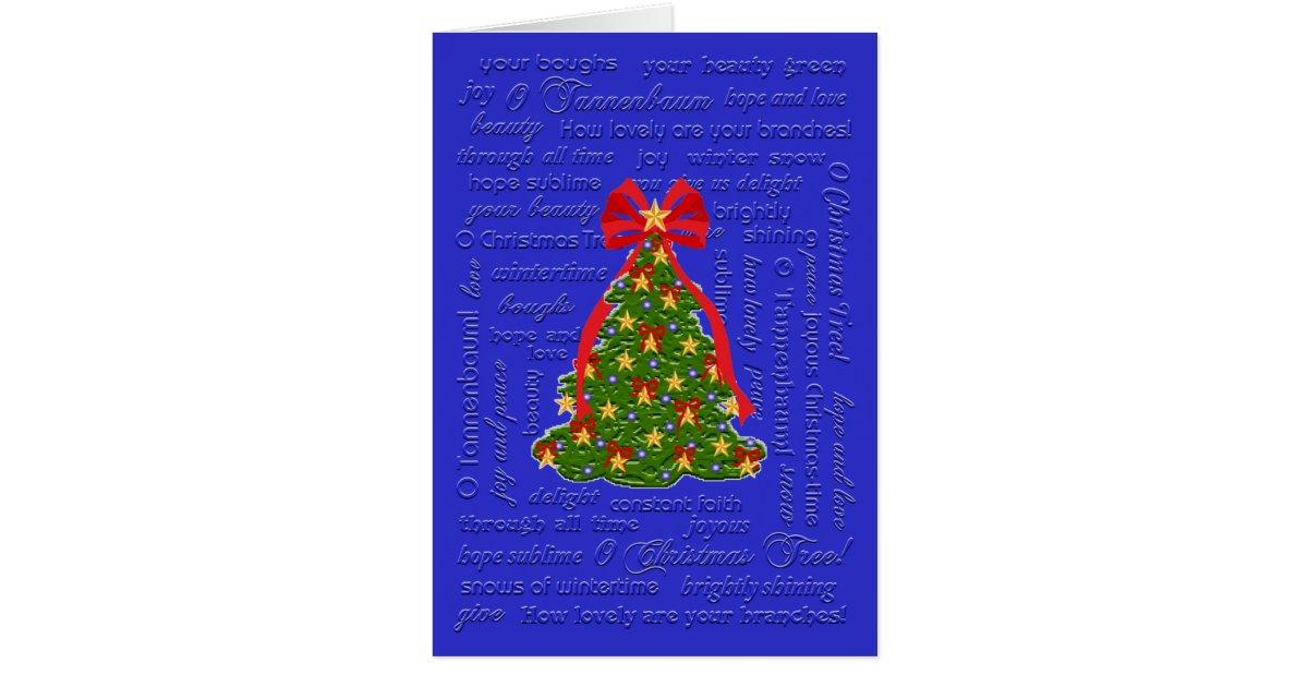 O Christmas Tree Card, O Tannenbaum Carol, Lyrics Card