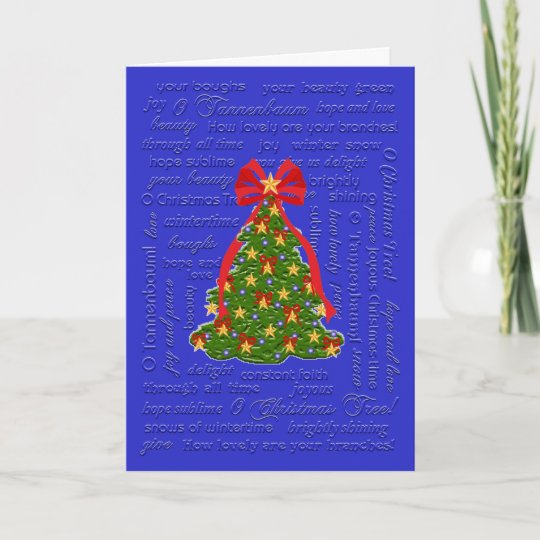 o christmas tree card o tannenbaum carol lyrics holiday card - Oh Christmas Tree How Lovely Are Your Branches Lyrics