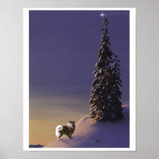 """""""O Christmas Tree"""" Keeshond poster"""