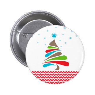 O CHRISTMAS Tree Star Chevron Gifts 2 Inch Round Button