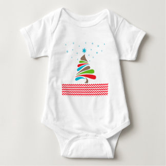 O CHRISTMAS Tree Star Chevron Gifts Baby Bodysuit