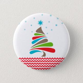 O CHRISTMAS Tree Star Chevron Gifts Pinback Button