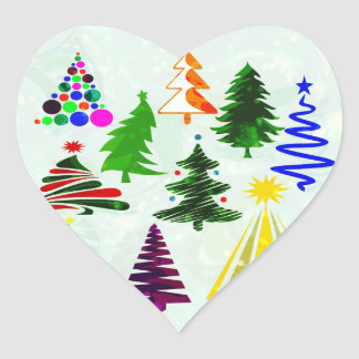 O CHRISTMAS TREES HEART STICKER