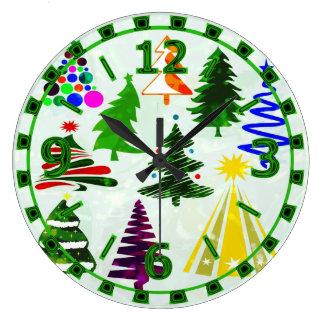 O CHRISTMAS TREES LARGE CLOCK