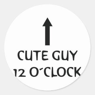 o´clock lindo del individuo 12 pegatina redonda