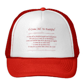 O Come All Ye Faithful Christmas Lyrics in Red Mesh Hat