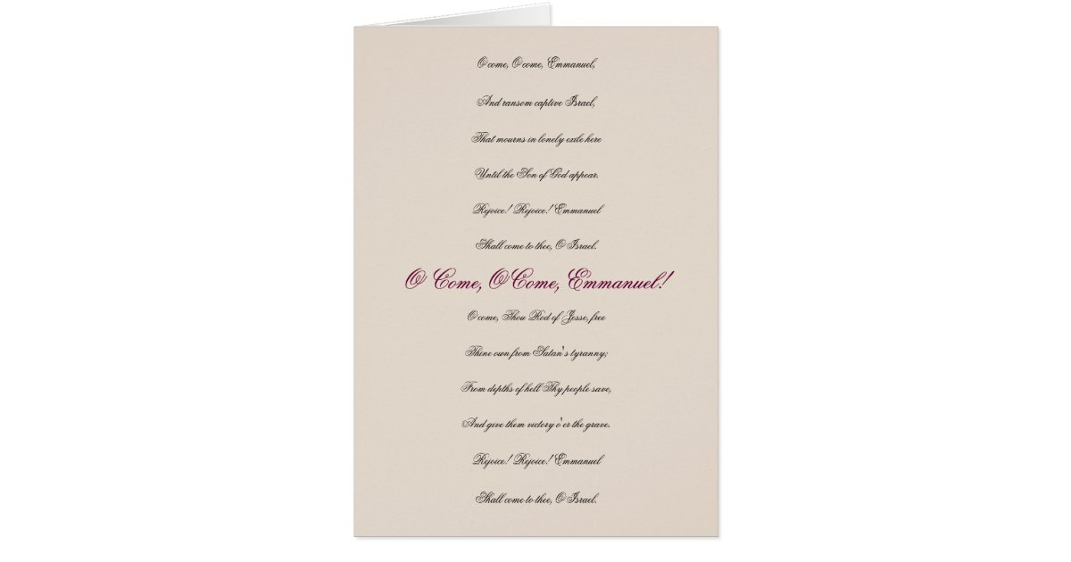 Lyric emmanuel lyrics : O Come, O Come, Emmanuel Lyrics Christmas Card | Zazzle.com