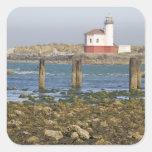 O, costa de Oregon, Bandon, río 2 de Coquille Calcomanías Cuadradass Personalizadas