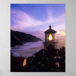 O, costa de Oregon, faro principal de Heceta, ence Impresiones